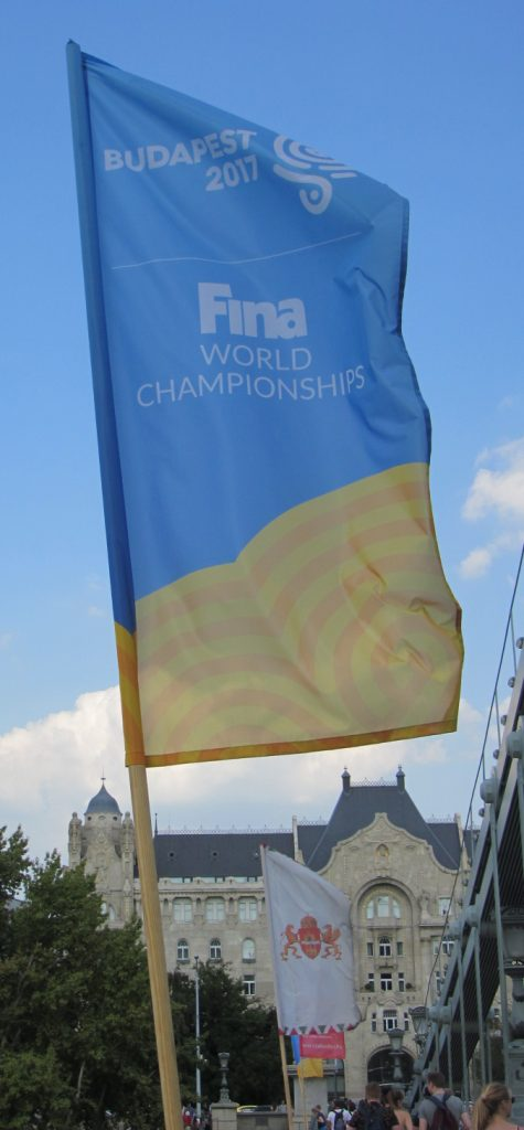 Banner for the 2017 FINA World Championships on the Széchenyi Chain Bridge in Budapest, Hungary