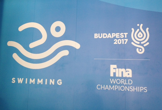 Wall banner desplaying the 2017 FINA Masters Worlds Championships in Budapest, Hungary