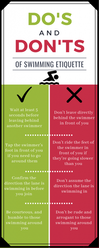 List of do's and don'ts of swim etiquette