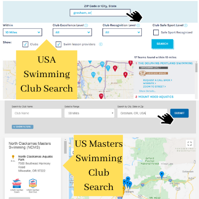 Use official sites such as USA Swimming or US Masters Swimming to locate a team so you can train while you travel