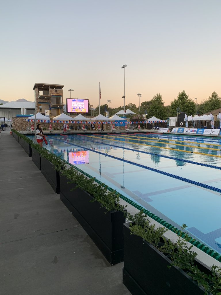 Sunset at the Marguerite Aquatic Center during the 2019 Masters Summer Nationals