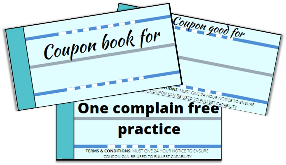 Picture of a swim coupon book for a gift idea for swim coaches