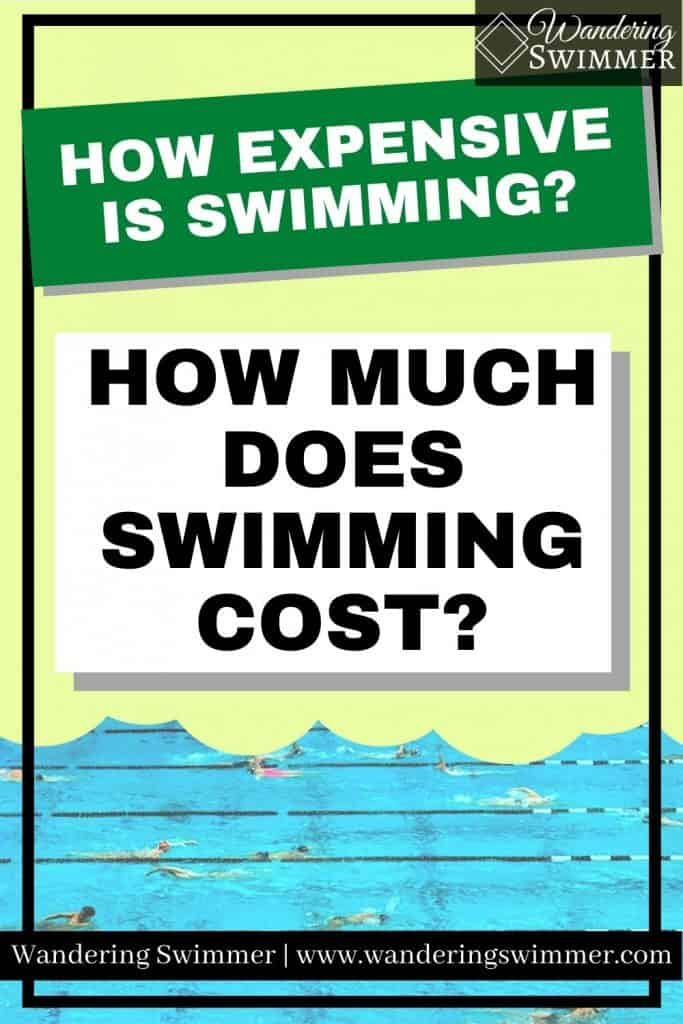 Image that reads: how expensive is swimming? in one box. Another box has text that reads how much does swimming cost? A picture of a pool is below the box