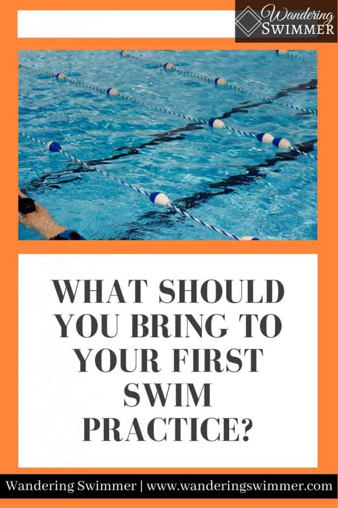 Image with text in a white box that reads: what should you bring to your first swim practice? There's a picture of a pool above the text.