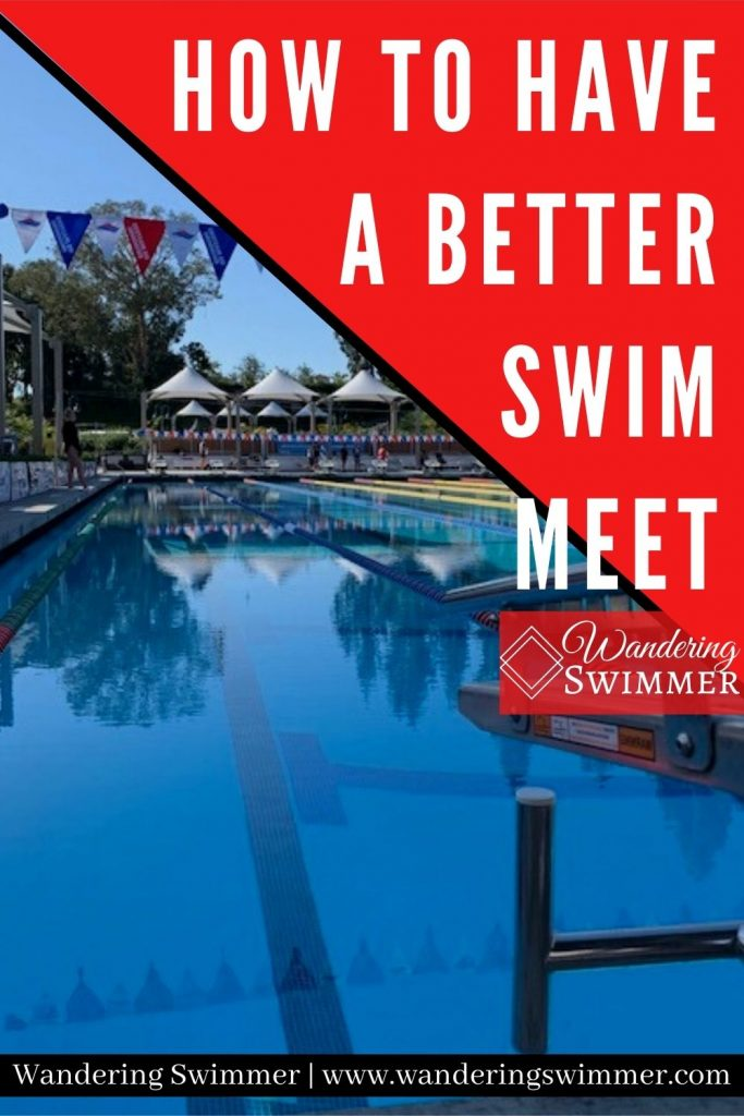 Image of a pool with a red triangle in the upper right hand corner. White text reads: how to have a better swim meet