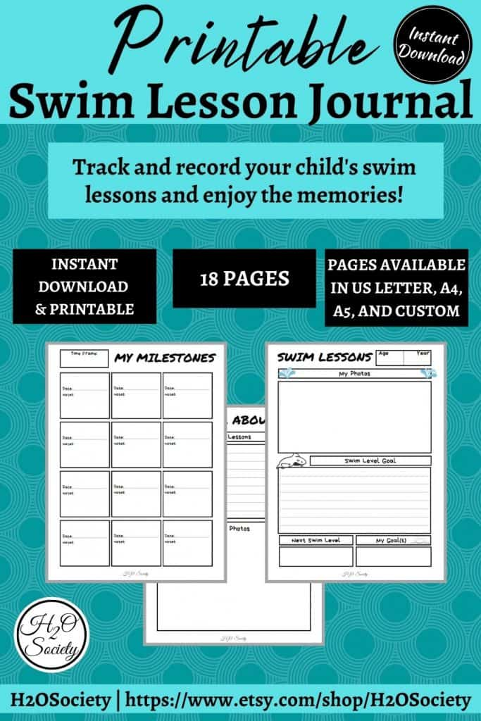 Image with blue background and text that reads: printable swim lesson journal. Track and record your child's swim lessons and enjoy the memories!
