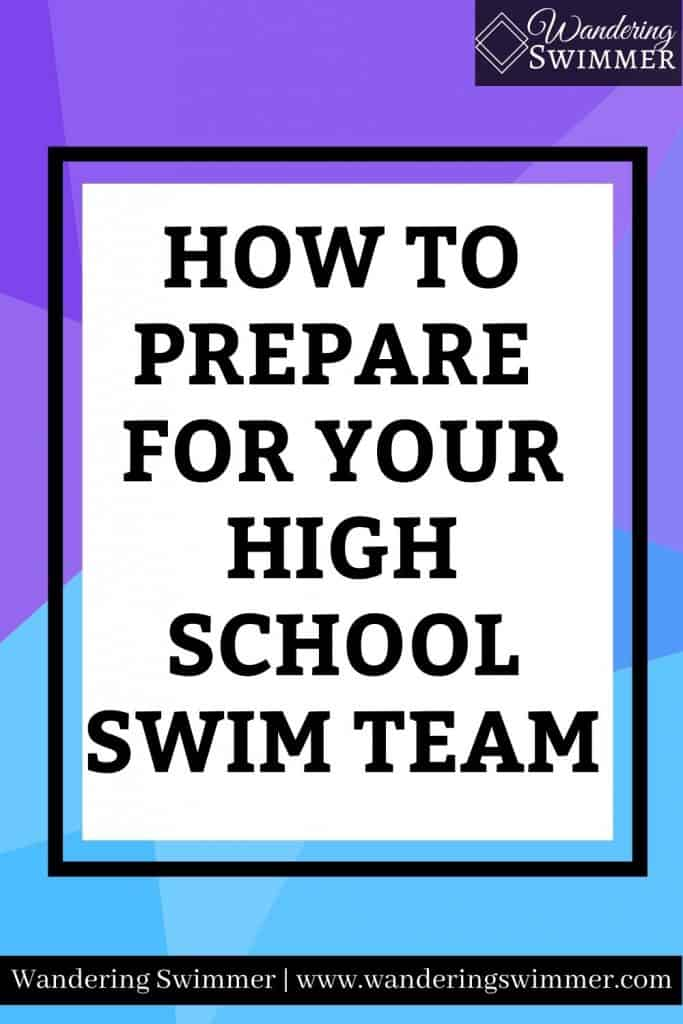 Image with purple and blue background. A black border surrounds a white text box with text that reads: how to prepare for your high school swim team