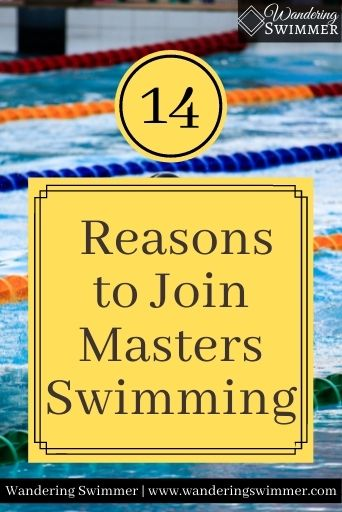 Image of a lane lines in a pool. A circle with the number 14 sits over a yellow text box with black border that reads: reasons to join masters swimming