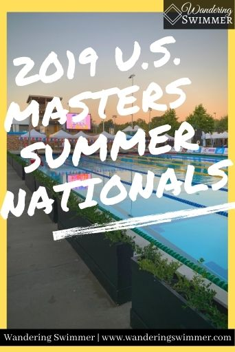 Image with a yellow border surrounding a pool at sunset. White text reads 2019 U.S. Masters Summer Nationals