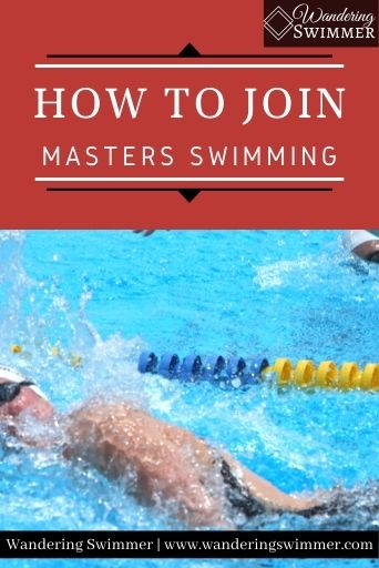 Image with two swimmers racing each other at the bottom of the image. The top has a red text box with white text that reads: how to join masters swimming