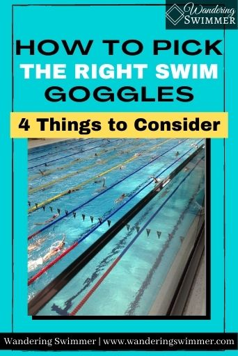 Image with teal background and text that reads: How to Pick the Right Swim Goggles. A yellow text box reads: 4 things to consider. Below the text is an image of a pool
