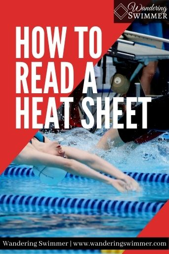 Image of a swimmer doing a backstroke start. Red diagonal boxes are in the upper left and bottom right corners. White text reads: how to read a heat sheet.
